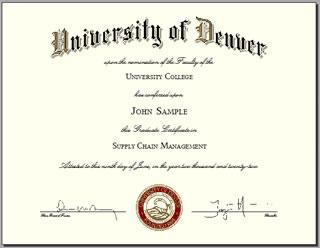 University of Denver Certificate Diploma sample