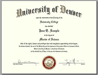 University of Denver Diploma sample